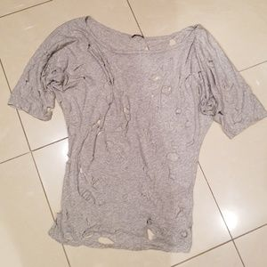 Unique Cotton Tee with Distress Rips